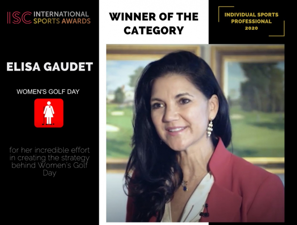 Elisa Gaudet wins a well-deserved award for her services to golf