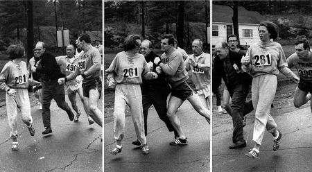 Katherine Switzer being attacked by a race official during the 1967 Boston Marathon: Credit Boston Herald