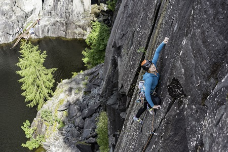 Anna Taylor (pictured leading a route in Hodge Close Quarry in the Lake District) has her eyes on an exciting future with Berghaus