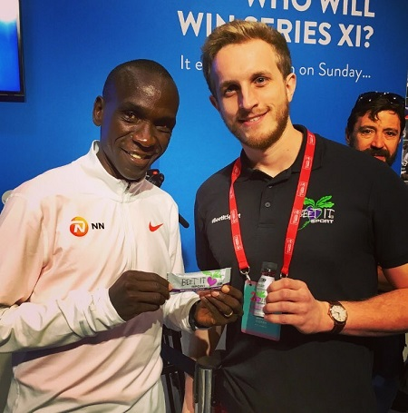 Eliud Kipchoge with Jonathan Cartwright of Beet It Sport