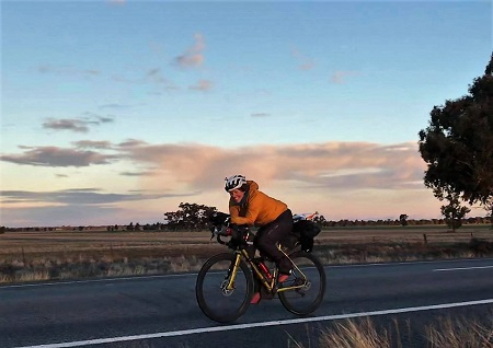 Jenny Graham cycling in Australia during her round the world record attempt. Picture credit:Jenny Graham/The Adventure Syndicate