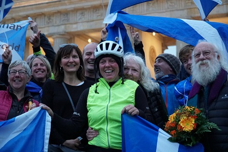 Jenny Graham arrives in Berlin after 125 days. Picture credit: Thomas Hogben